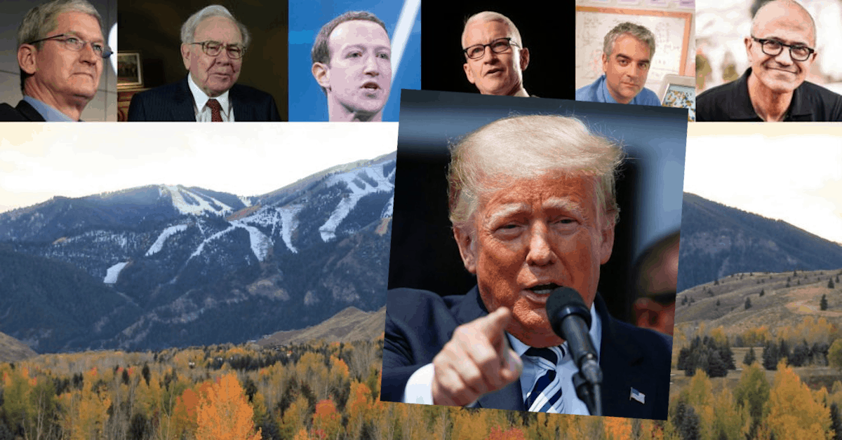 Trump Sues Big Tech Giants as the Elite Join Hands in the Sawtooth Mountains